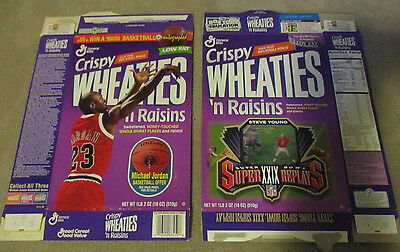 14 1990s Flat WHEATIES Boxes nice shape Jordan Marino Griffey Flutie Flakes more