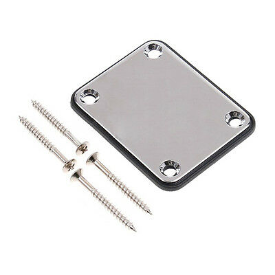Chrome Guitar Neck Plate With One Rubbermat Stratocaster Telecaster CT Y8X0 Q7M6