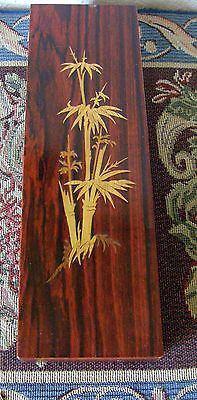 Antique Japanese Mahogany Scribes Box With Inlay Bamboo Decor As Is Brush