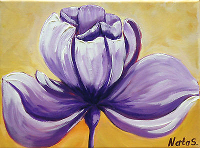 "Original Small Art Painting.Abstract Purple Flower Painting 12"" x 9""  by Nata S."