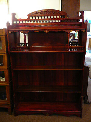 S51 Antique Victorian Eastlake Maple Stained Cherry Bookcase Gallery Top Etagere
