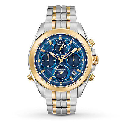 New Bulova 98B276 Precisionist 262 khz Chronograph Two Tone Stainless Mens Watch
