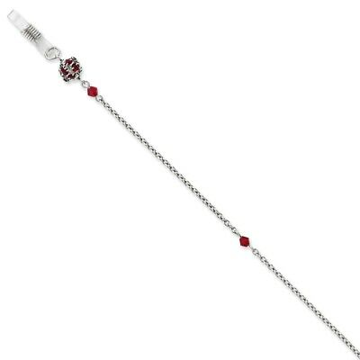 Silver-tone w/Red Crystal 30in Eyeglass Holder Chain