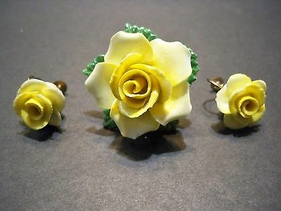 Vintage Staffordshire England Bone China Floral Brooch Pin Earrings