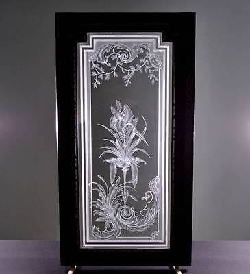 Antique French Etched Glass Window or Door Flowers in an Urn