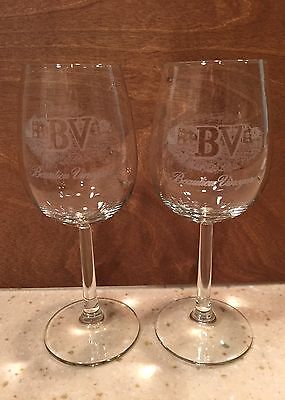 Set Of 2 BV Beaulieu Vineyards Napa Valley CA Etched Stemmed Wine Glasses