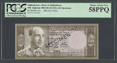 Afghanistan 500 Afghanis Sh1342(1961-63) P41s Specimen About Uncirculated
