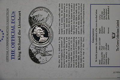 Gibraltar 14 Ecus 1995 Silver Proof With Coa A60 Bxecu - 106