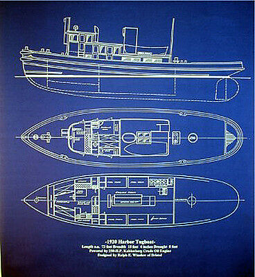 "Vintage Tugboat Blueprint Drawing Plan 1920 old style blue 24""x29"" (020)"