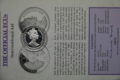 Gibraltar 14 Ecus 1994 Silver Proof With Coa A60 Bxecu - 100