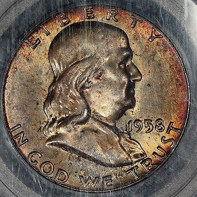 1958-P Franklin Half Dollar, PCGS MS65, Pretty gold/blue toning
