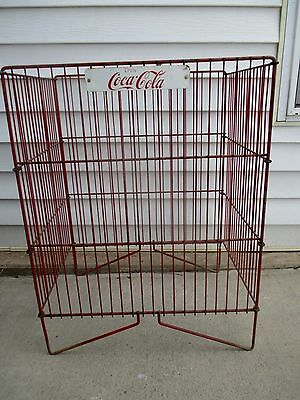Vintage Coca Cola Coke Glass Bottle Display Rack with Tin Sign - Vending Machine