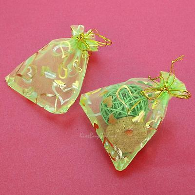 50pcs Heart Organza Wedding Party Favor Gift Candy Bags Jewelry Pouches 9 x 12cm