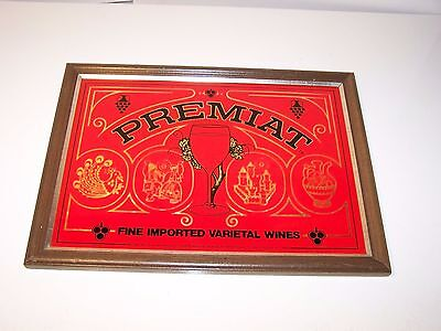 PREMIAT VINTAGE ROMANIAN WINE ADVERTISING GLASS SIGN Bar/Rec Room Collectible