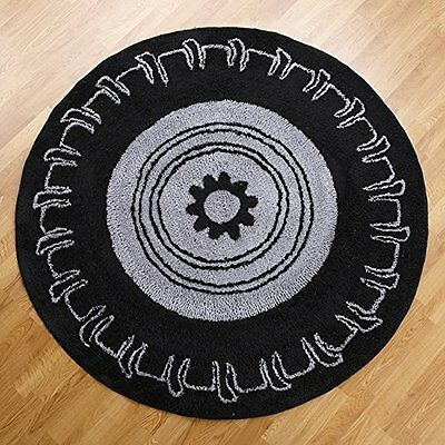 ONGP-102003855-One Grace Place Teyos Tires Round Rug, Black and Grey