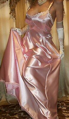 Vtg Fair Pink Long Slip Satin Bias Top Bust Sweep Nightgown Lingerie L XL 40 42