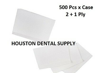 "500 Disposable Dental Tattoo Bibs 2+1 Ply Tissue Towel 13""x18"" WHITE COLOR"