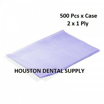 "500 Disposable Dental Tattoo Bibs 2+1 Ply Tissue Towel 13""x18"" LAVENDER COLOR"