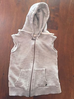 Little Eleven Paris Kids Sleeveless Gray Hoodie Zip Vest Sz 8