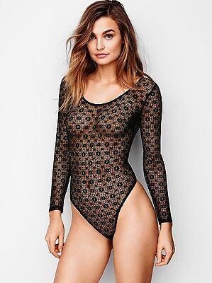 NWT Victorias Secret Black Medallion Lace Long Sleeve Bodysuit Lingerie Teddy XS