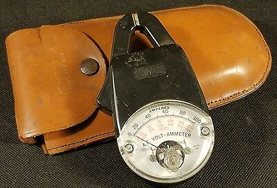 Nice Vintage Amprobe Clamp Meter 100 A.C. Volt Ammeter Model 500 in Leather Case