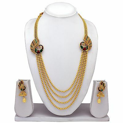 New Indian Traditional Peacock Gold Plated Temple Jewelry Necklace Earrings Set