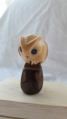 TAGUA NUT Hand Carved Figure of a Owl