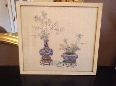 Rare Antique Oriental Painting On Silk Framed By E. Stacy-Marks Fine Art Dealers