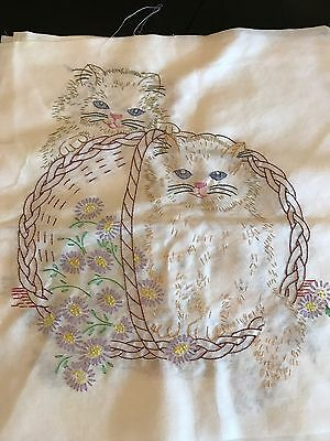 Vintage Embroidered Kitty Cat In Basket / Lot Of 4
