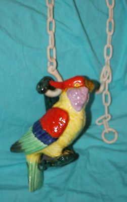 RARE Vtg Majolica Hand Painted Pottery FIgural Parrot Bird Hanging Planter Chain