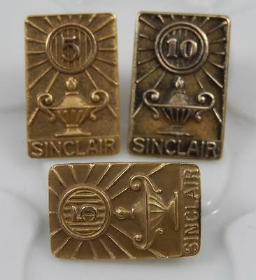Vintage 10K Gold Sinclair Oil 5 & 10 Years Service Pin Set of 3  J0071