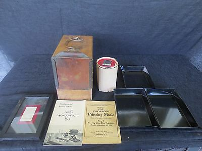 Antique Kodak Darkroom Lot, Brownie Bulb, Trays, & WW2 Portable Photo Developer?