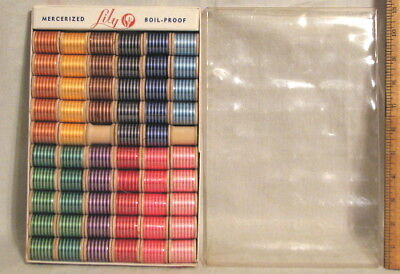 VINTAGE LILY MERCERIZED EMBROIDERY SEWING THREAD  BOX of 5 DOZ VARIEGATED COLORS