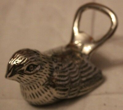 Vintage Silver Plated Dove Tailed Sparrow Bird Bottle Opener nice detailling