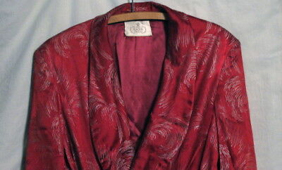 Mid Century Vintage Embroidered Satin Dressing Gown Smoking Robe - Size Large