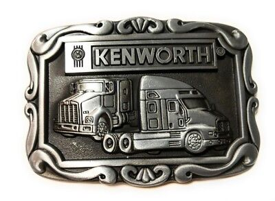KENWORTH TRUCKS Pewter Finish Metal/Enamel BELT BUCKLE Antique silver color
