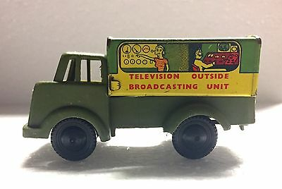 Vintage 1940's Brimtoy Tin Toy Television Outside Broadcasting Unit Gt. Britain