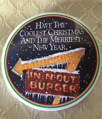 """Collectible In n Out Burger Button Coolest Christmas Merriest New Year 3"""""""