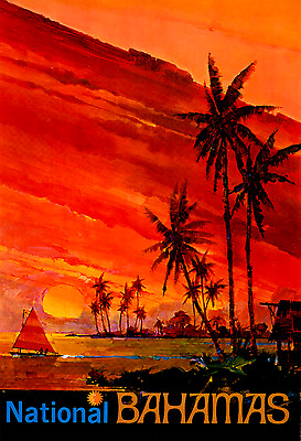 ORIGINAL Vintage Travel Poster NATIONAL AIRLINES Bahamas SUNSET Palm Trees