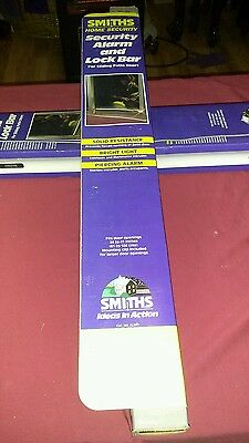 Smiths Home Security Patio Sliding Door Security Bar Alarm & Led Light NEW
