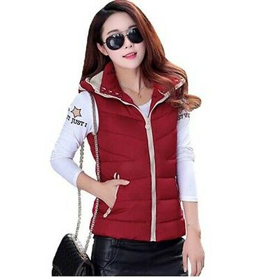 Womens Winter Padded Hooded Waistcoat Vest Sleeveless Bodywarmer Gilet Vest