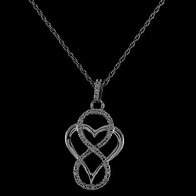 Round Natural Diamond Infinity Heart Pendant 14k Gold Over 925 Sterling Silver