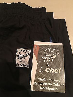 Le Chef Professional Pants Trousers Drawstring Uniform Black - DISCOUNTED