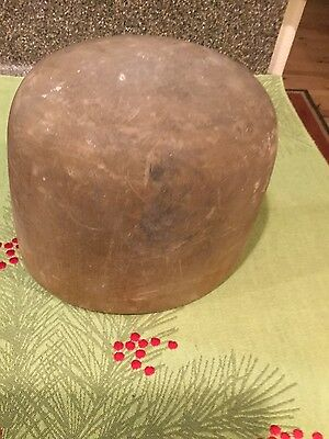 Vintage Early Wooden Wood Block Hat Mold Millinery Form 6. 7.  77 markings