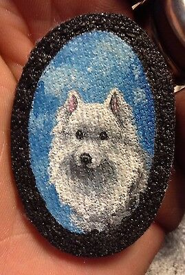 Original Painting~Samoyed~Dog~Hand Painted~miniature~PATCH~Sew on~Whimsical