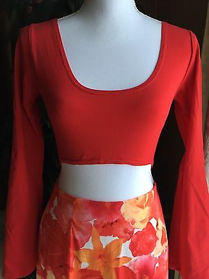 Vintage 90's Commotion Bell Sleeves Stretch Crop Top Blouse Junior L