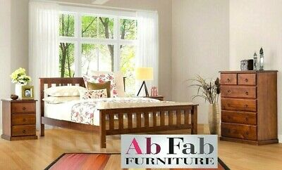 Banksia Queen Timber Bedroom Suite 1 X Bed Frame And 2 X Bedside Chests