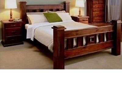 KING SIZE RUSTIC BEDROOM SUITE BED FRAME & 2 x BEDSIDE CHEST ONLY