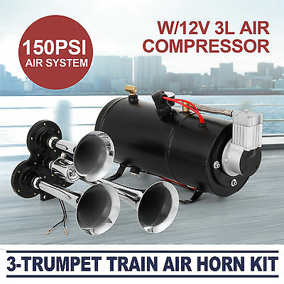 Train Luft Horn Kit mit 12V 150PSI Luft Kompressor Pro Lokal 150dB + Air System