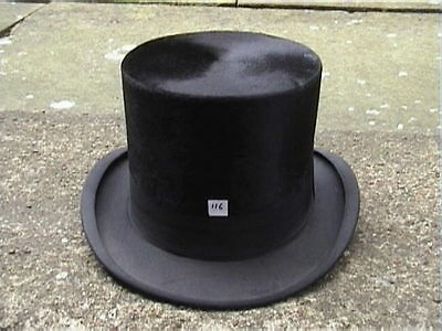 Antique Continental. Black Silk Top Hat Sz 7 1/8